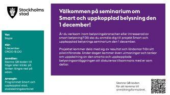 Inbjudan till seminarium om Smart och uppkopplad belysning den 1 december